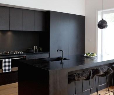 Black Kitchen Design Ideas With White Color Accent 27