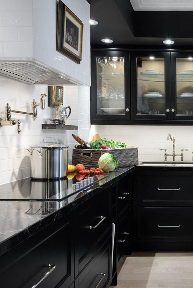 Black Kitchen Design Ideas With White Color Accent 37
