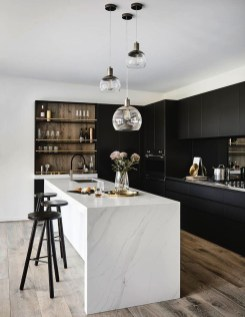 Black Kitchen Design Ideas With White Color Accent 43