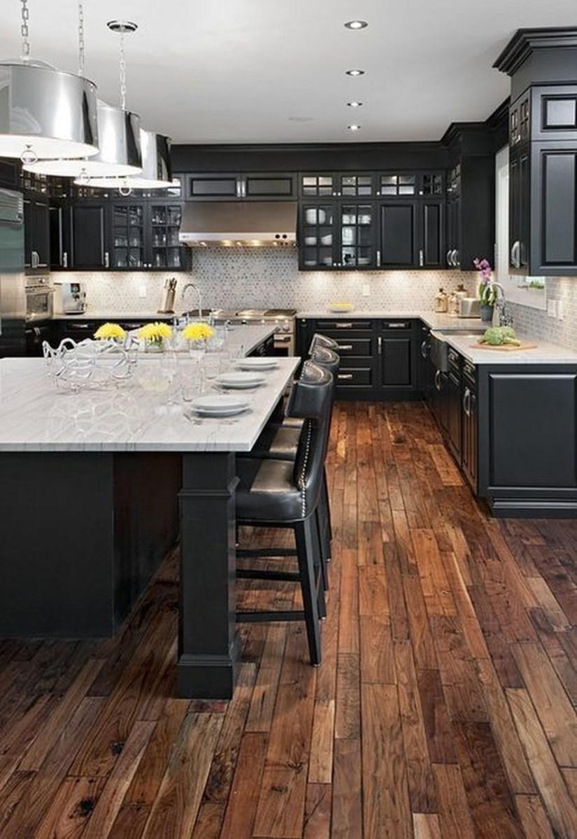 Black Kitchen Design Ideas With White Color Accent 48