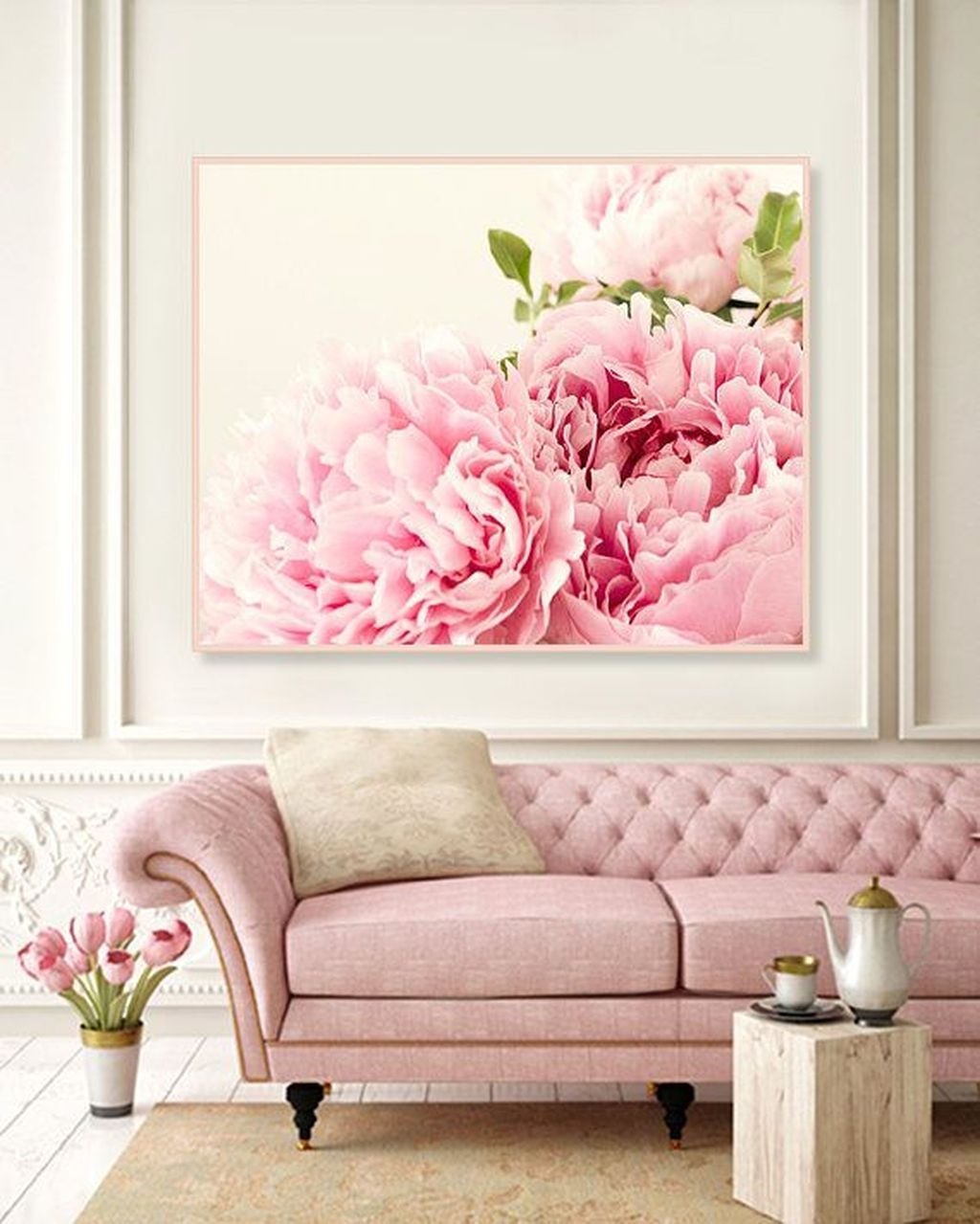 Lovely Pink Living Room Decor Ideas 17