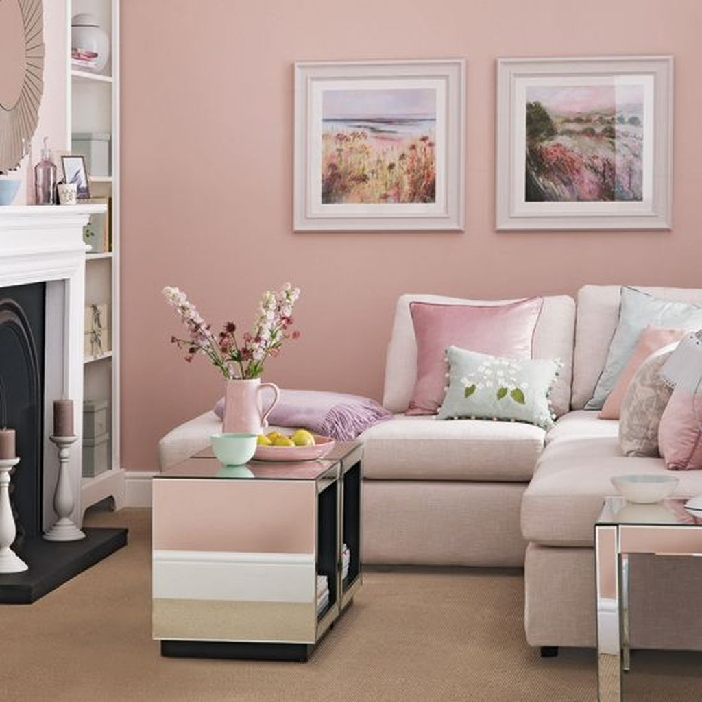 Lovely Pink Living Room Decor Ideas 34