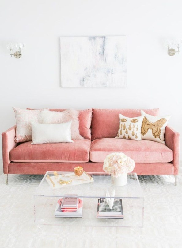 Lovely Pink Living Room Decor Ideas 46