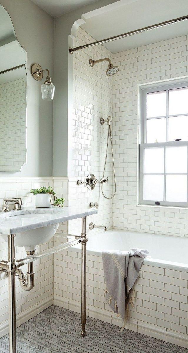 Amazing White Tile Bathroom Design Ideas Looks Elegant 02