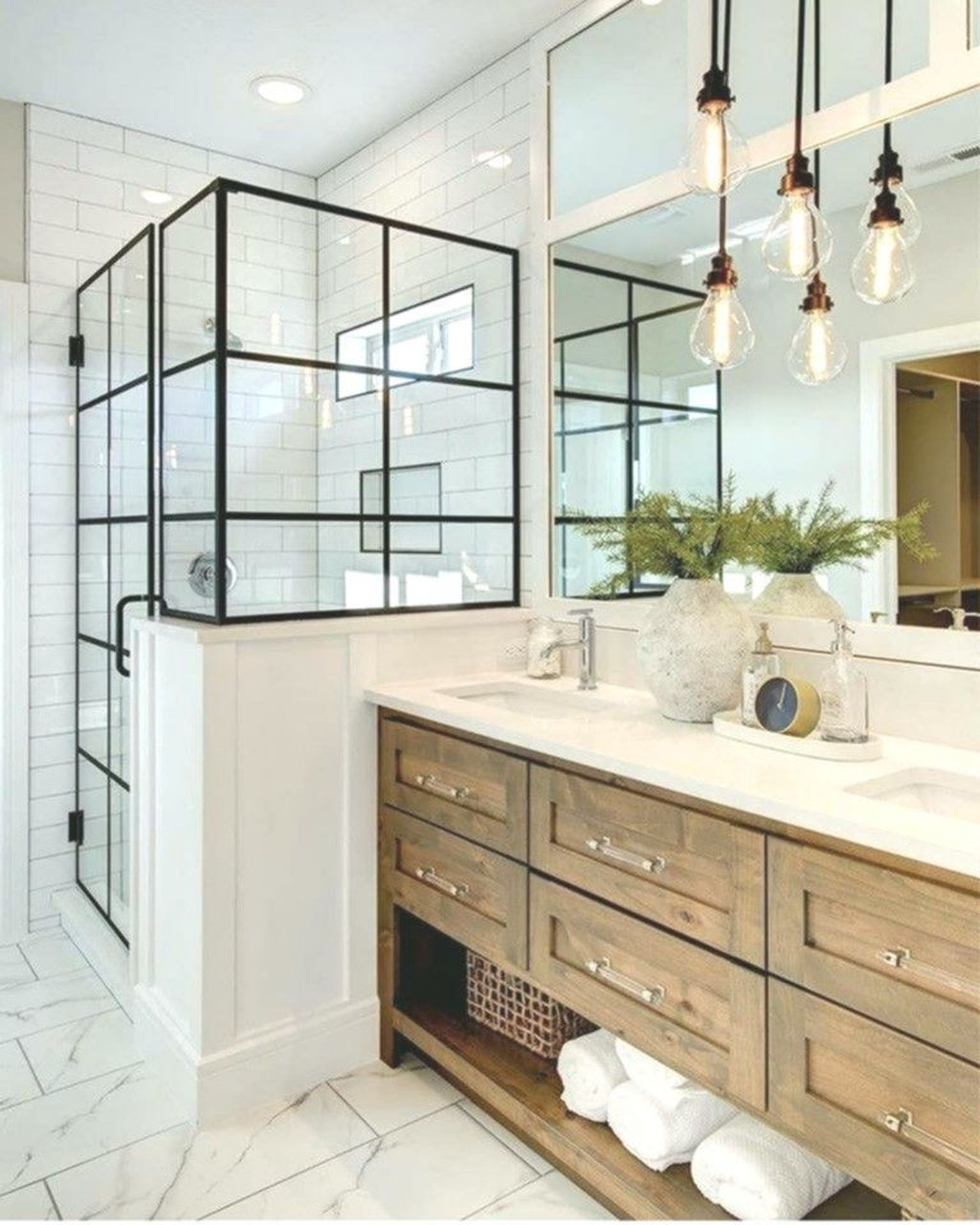 Amazing White Tile Bathroom Design Ideas Looks Elegant 19