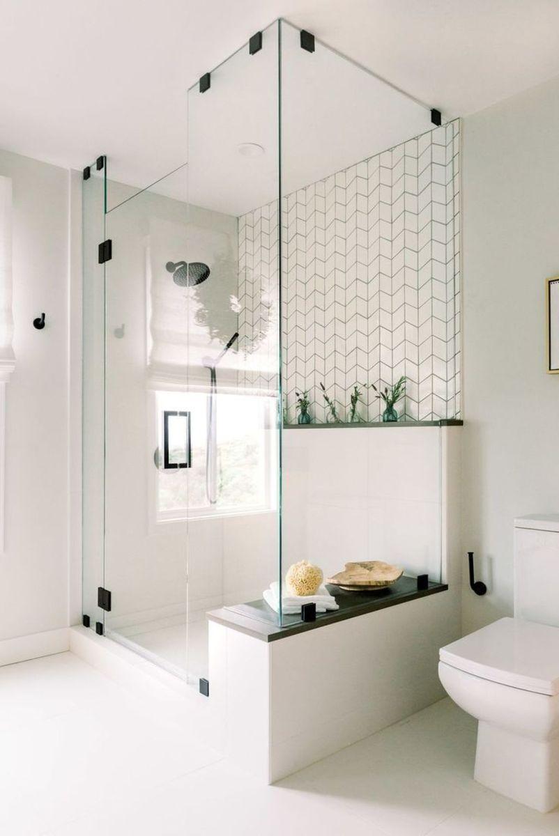 Amazing White Tile Bathroom Design Ideas Looks Elegant 30
