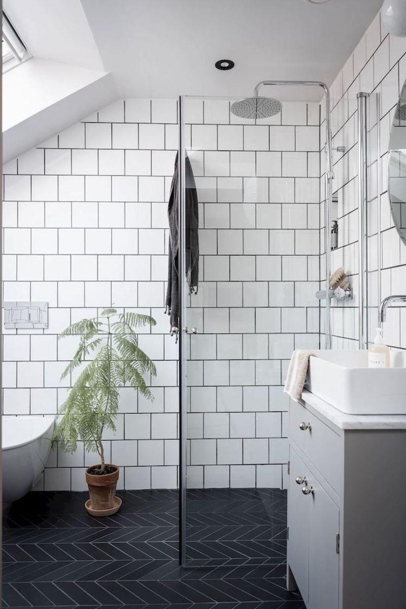 Amazing White Tile Bathroom Design Ideas Looks Elegant 34