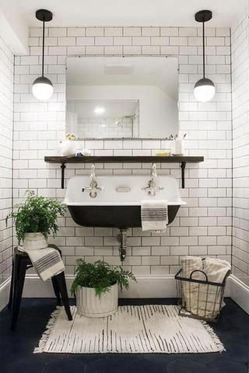 Amazing White Tile Bathroom Design Ideas Looks Elegant 35