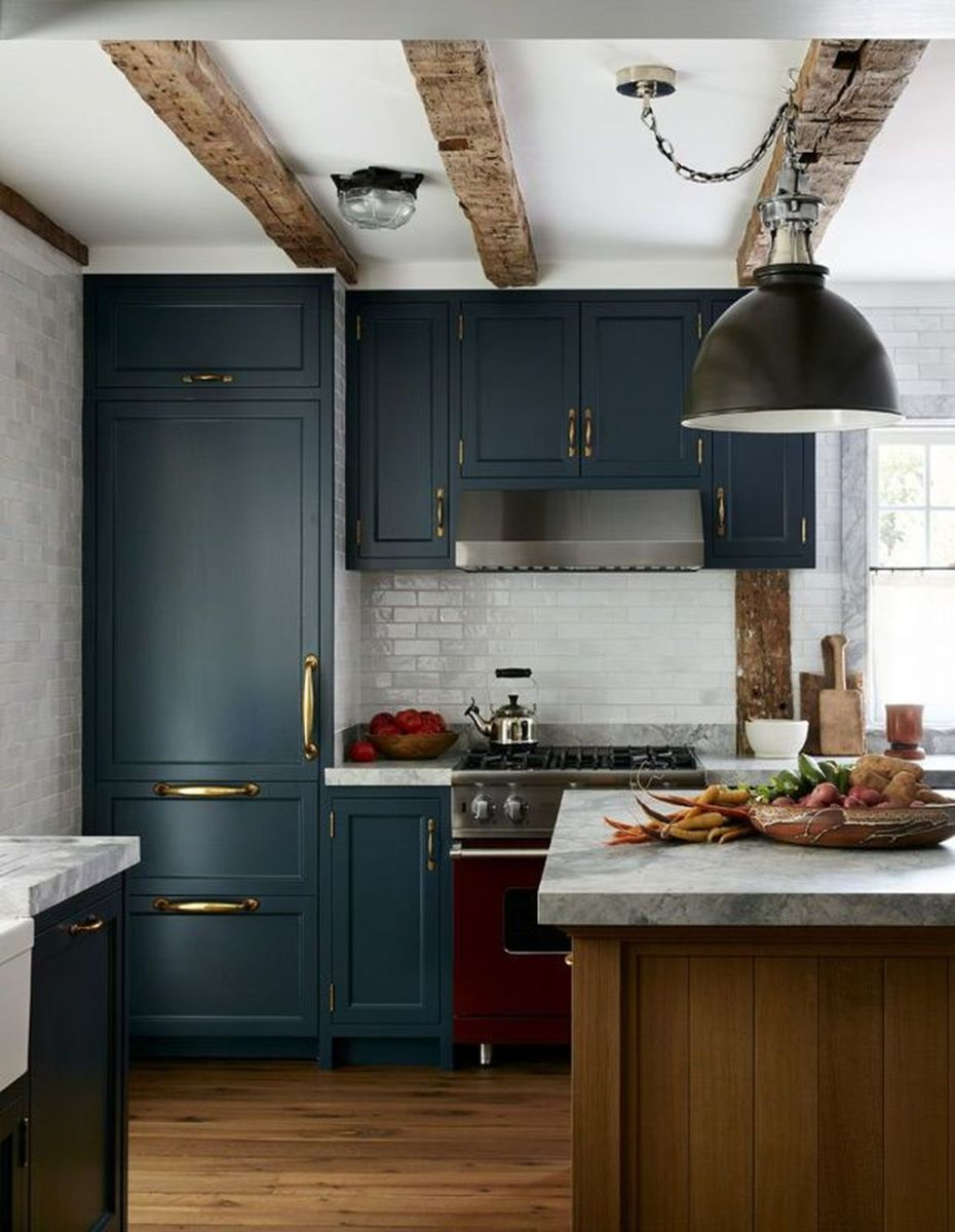Nice Dark Blue Kitchen Cabinets With Luxurious Accent 05