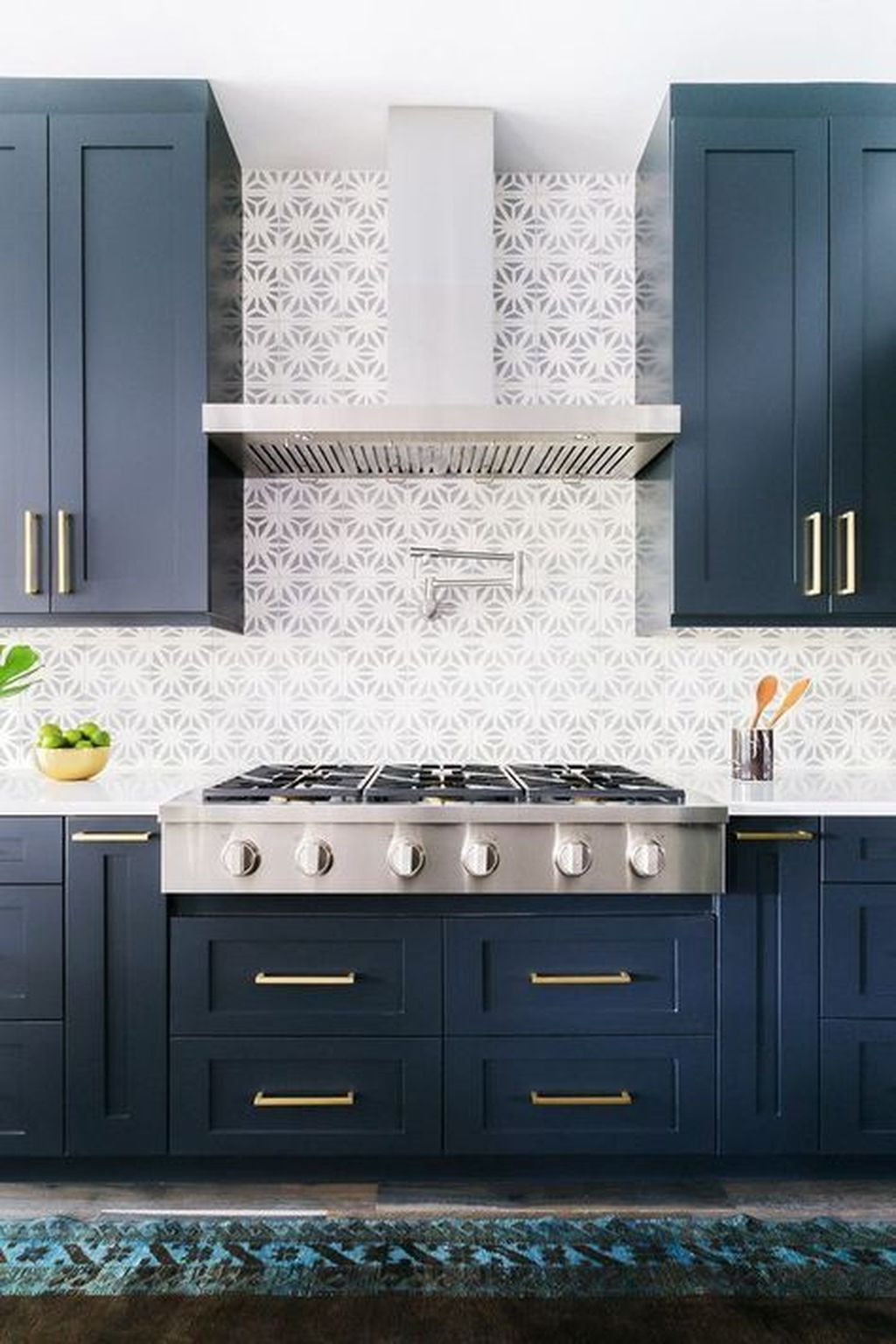 Nice Dark Blue Kitchen Cabinets With Luxurious Accent 31