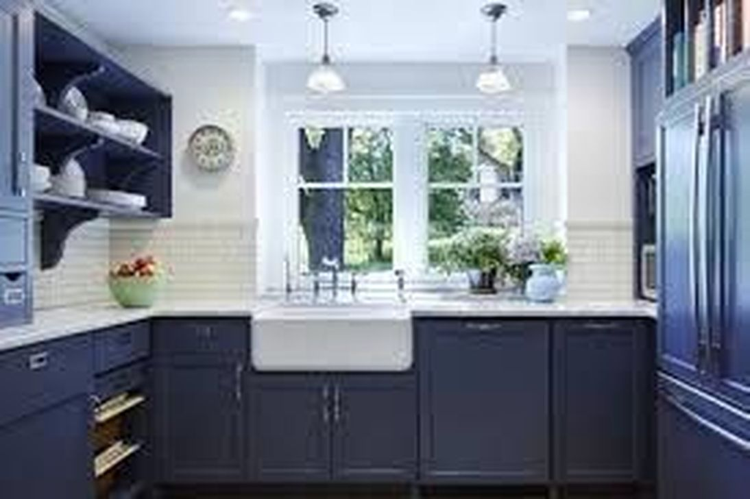 Nice Dark Blue Kitchen Cabinets With Luxurious Accent 34