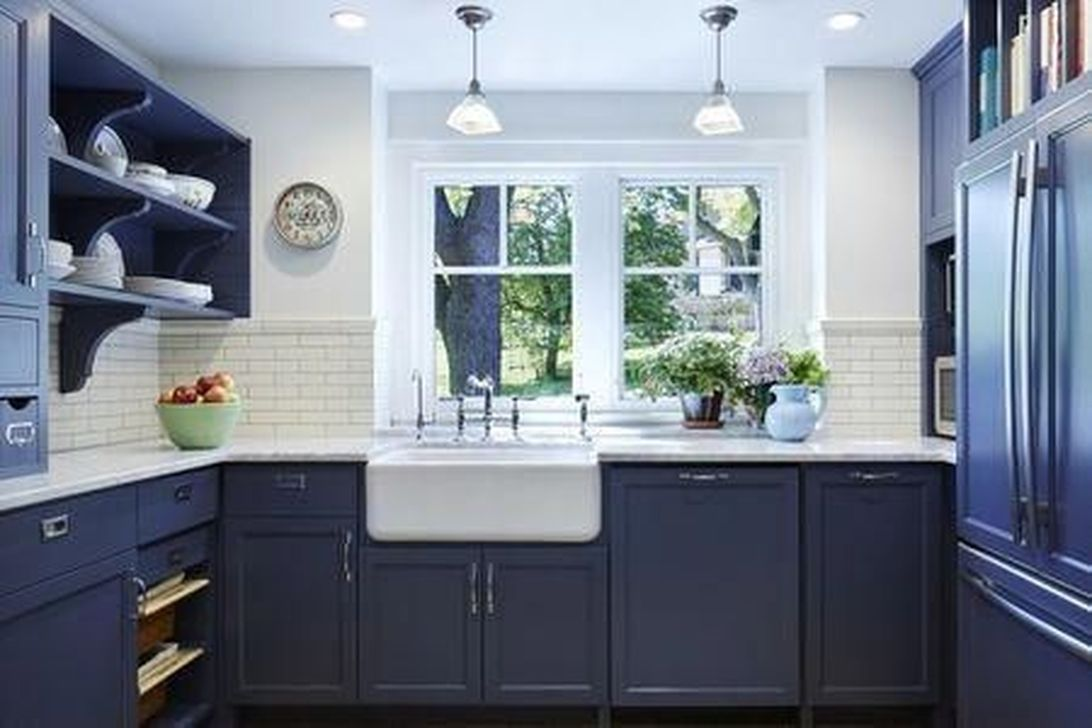 Nice Dark Blue Kitchen Cabinets With Luxurious Accent 36