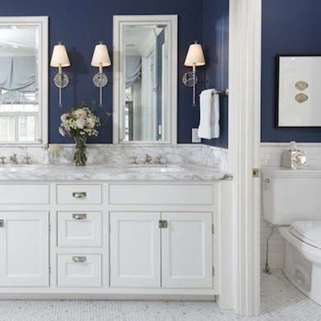 Nice Blue Color Bathroom Decor Ideas 06