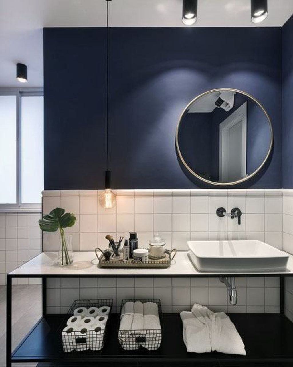 Nice Blue Color Bathroom Decor Ideas 22