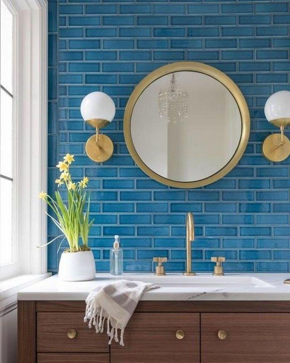 Nice Blue Color Bathroom Decor Ideas 32