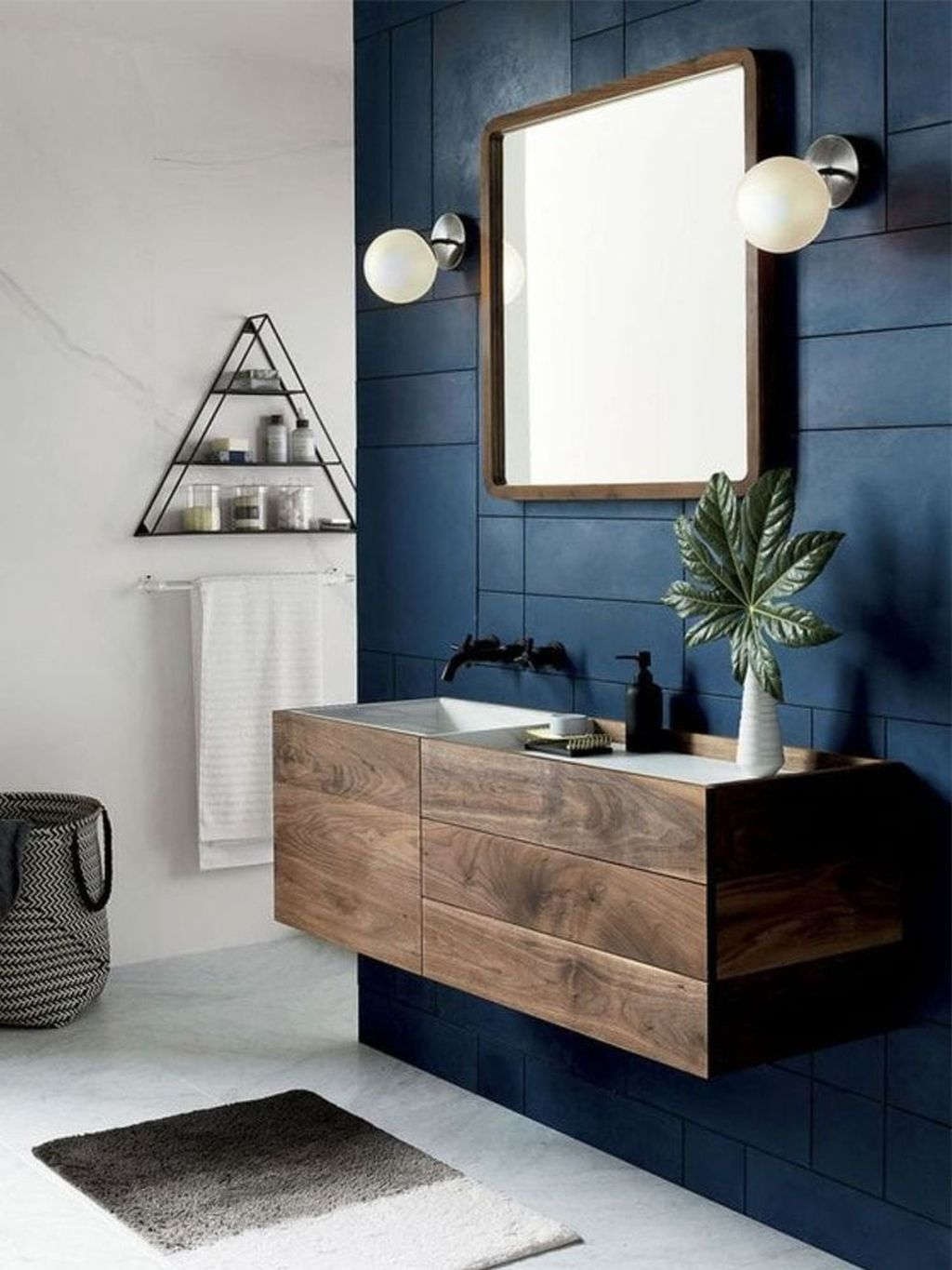 Nice Blue Color Bathroom Decor Ideas 36