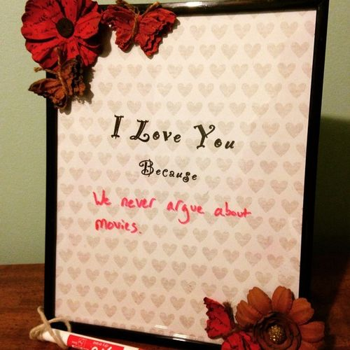 a note on the reasons of love framed with flowers