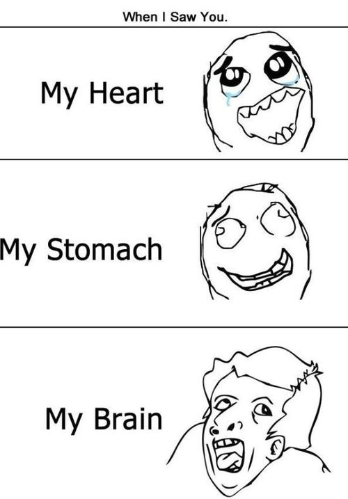 a caricature of the heart, the brain and the stomach