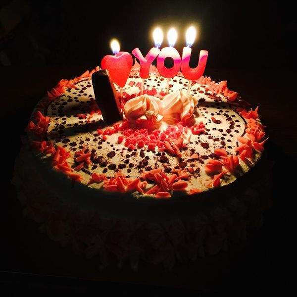 the cake with candles i love you