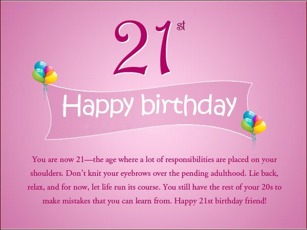 Happy 21st birthday text messages cards