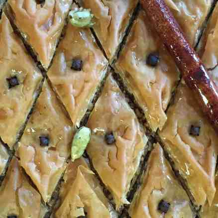 Baklava with pistachios, cardamom, and rosewater.