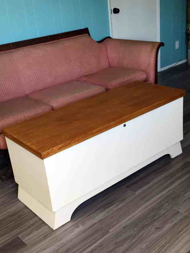 Cedar chest makeover - The finished chest in place as a coffee table.