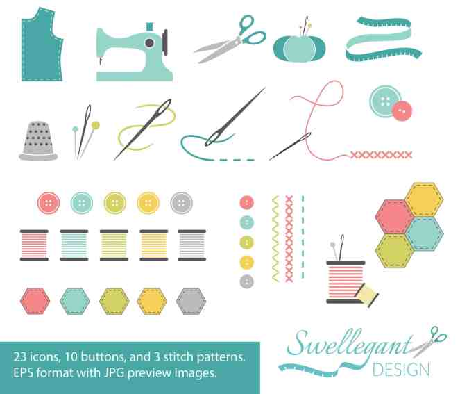Sewing Vector Icons Set #1