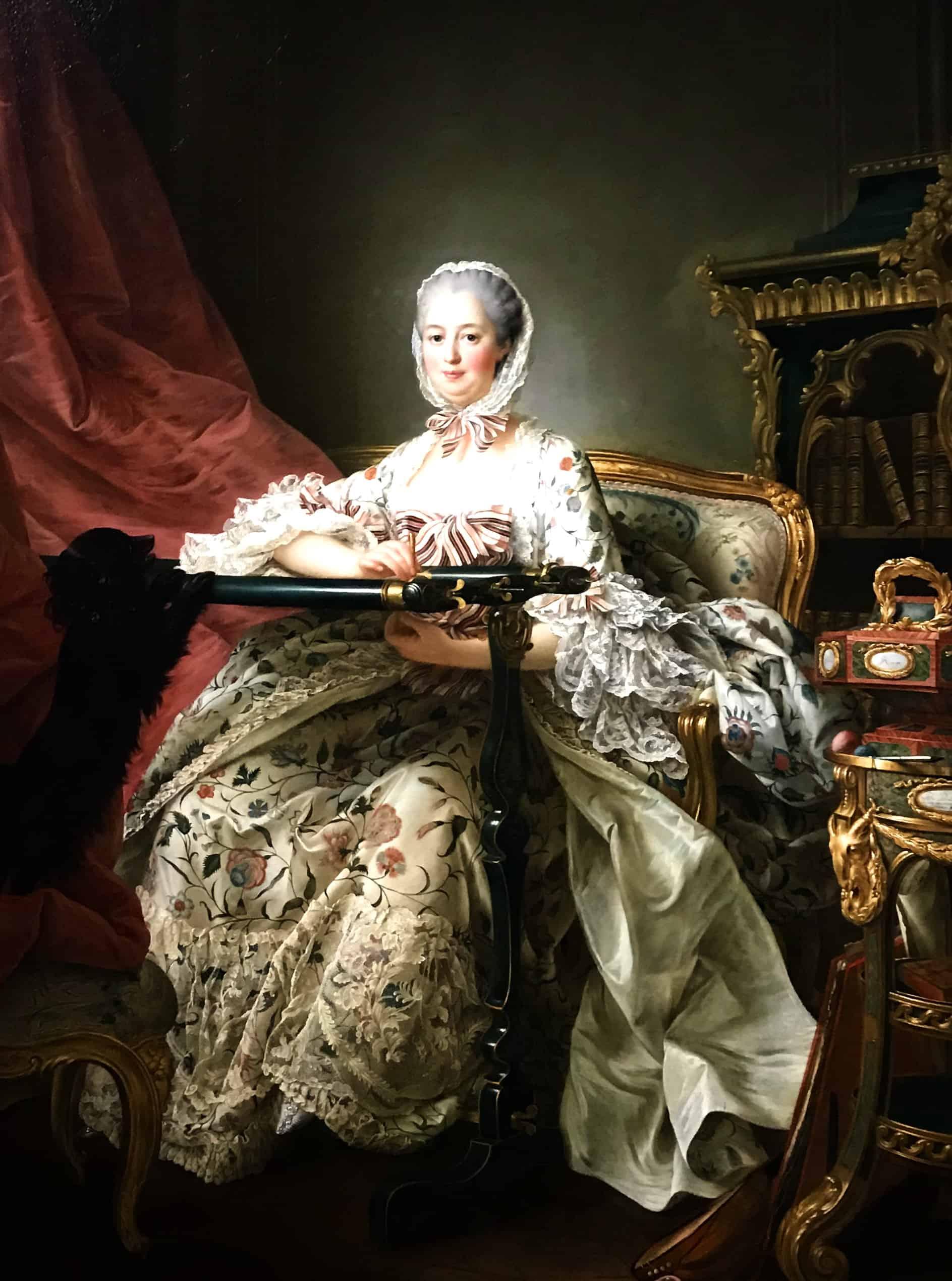 Portrait of Madame de Pompadour at her Tambour Frame by Drouais