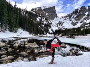 Dream Lake in Rocky Mountain National Park - yes in snowshoes!