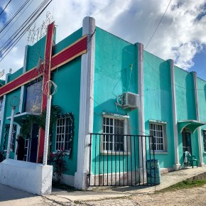 Discovering Hurricane History during Walking Tour in Corozal, Belize