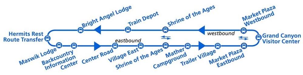 Wielki Kanion - mapa niebieskiej linii autobusu