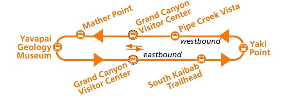 Wielki Kanion - mapa pomarańczowej linii Shuttle Bus