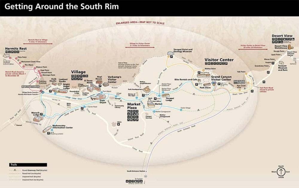 Mapa Grand Canyon South Rim