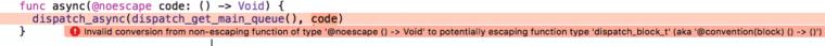 Xcode noescape async error