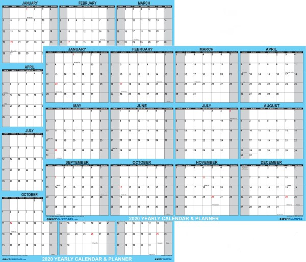 2020 Wall calendar large reversible and dry erase