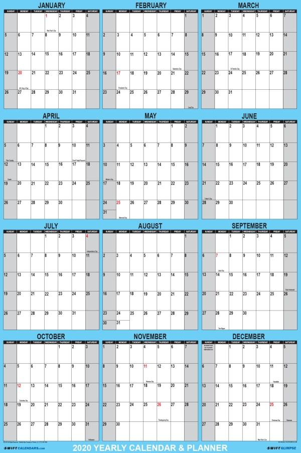 2020 Wall Calendar 24 x 36 Blue SwiftGlimpse Vertical Orientation