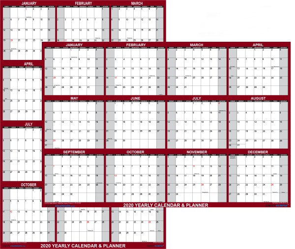 2020 large Wall calendar reversible and dry erase