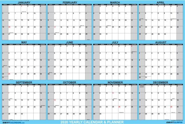 2020 Wall Calendar 24 x 36 Portable Wall Calendar Horizontal Orientation