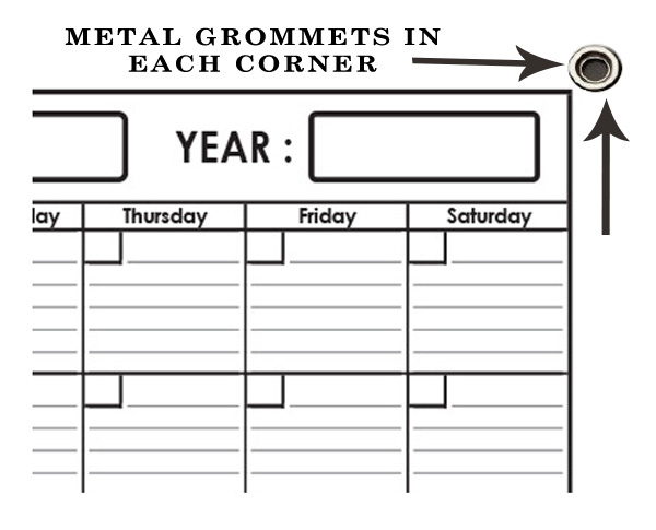 Monthly Wall Planner 24 x 30 by SwiftGlimpse with Grommets