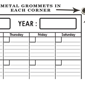 Yearly Wall Planner 32 x 48 by SwiftGlimpse with Grommets