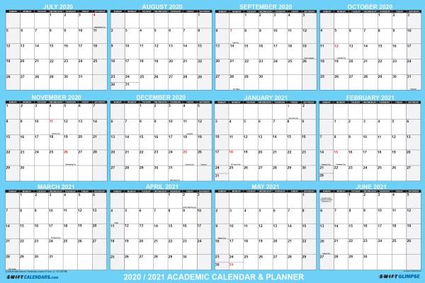 2020-2021 school calendar planner for distance learning school supplies