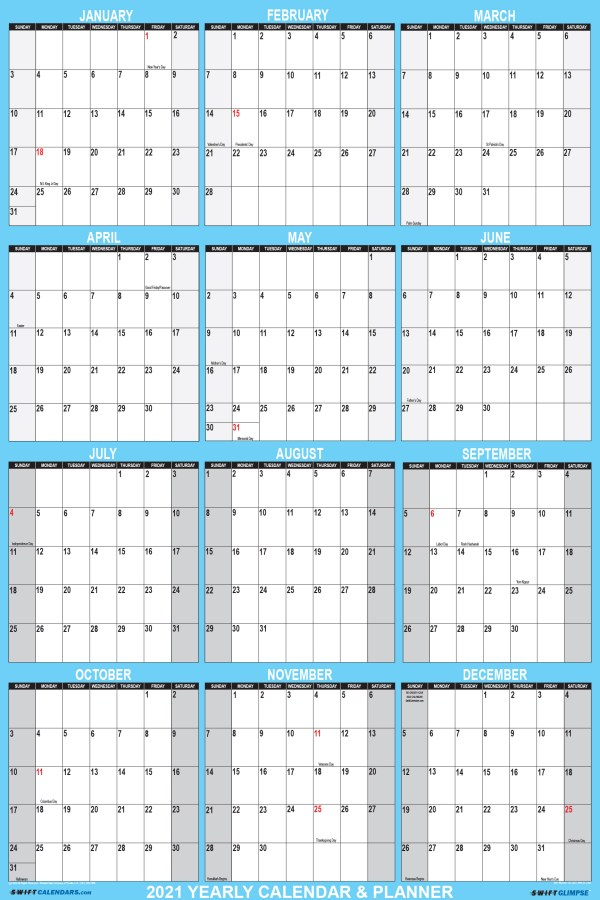 2021 Wall Calendar 18 x 24 Reversible SwiftGlimpse in Blue Vertical