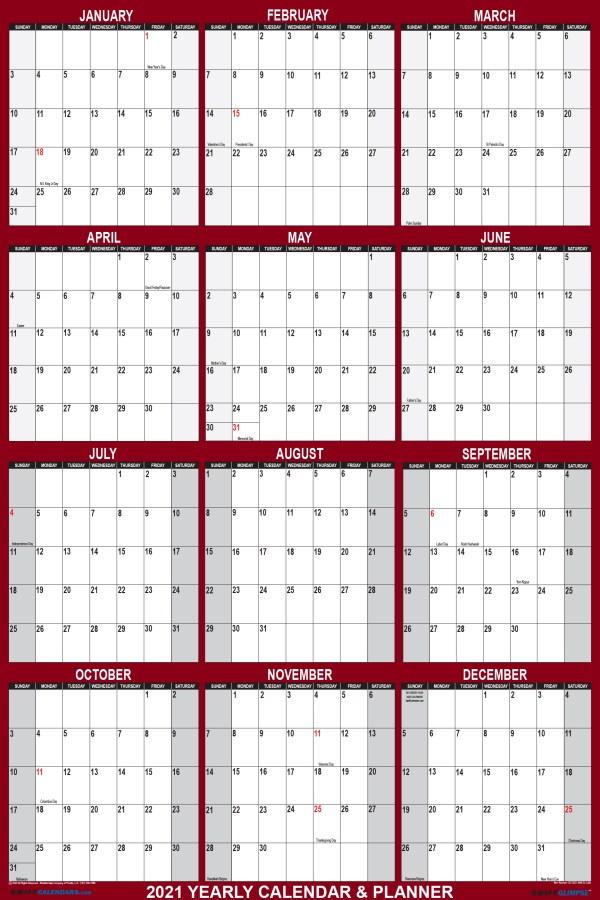 2021 Wall Calendar 18 x 24 Reversible SwiftGlimpse in Maroon Vertical