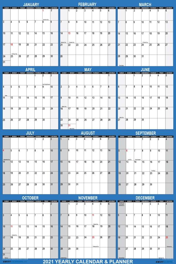 2021 Wall Calendar 18 x 24 Reversible SwiftGlimpse in Navy Vertical