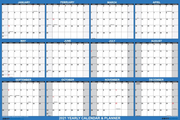 2021 Wall Calendar 18 x 24 Reversible SwiftGlimpse in Navy