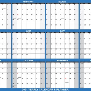 2021 Wall Calendar 18 x 24 Reversible SwiftGlimpse in Navy