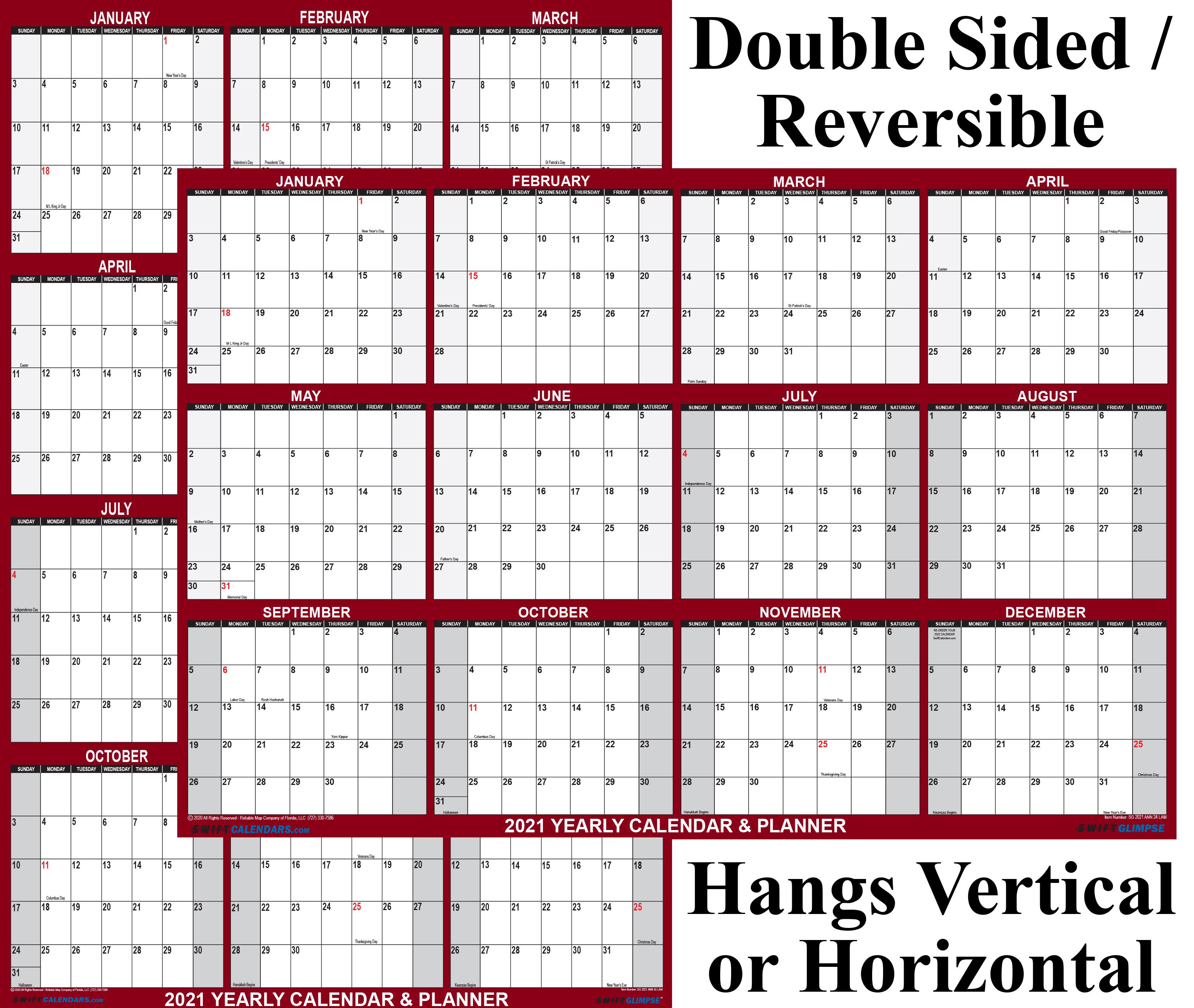 "2021 Wall Calendar 24"" x 36"" Reversible SwiftGlimpse Maroon"