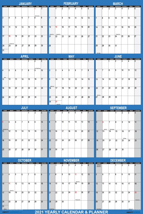 2021 Wall Calendar 24 x 36 Reversible SwiftGlimpse in Navy Vertical
