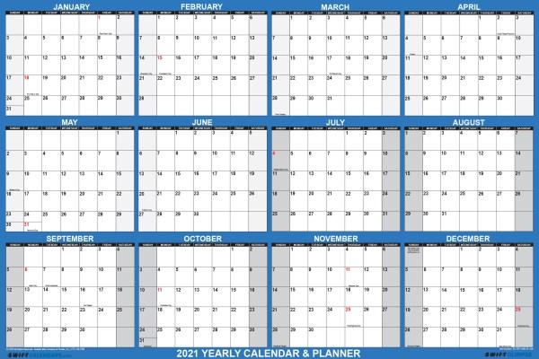 "2021 Wall Calendar 24"" x 36"" - Reversible SwiftGlimpse in Navy"