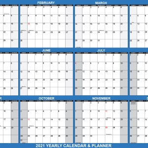 "2021 Wall Calendar 24"" x 36"" - Reversible SwiftGlimpse in Navy"